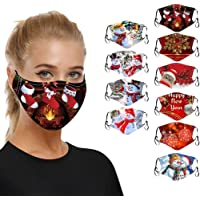 10PCS Face Bandana Dust Protection Reusable Mouth Cotton Cloth Cover Washable Elastic String Cycling Seamless Fabric…