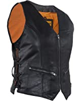 Women's Naked Leather Motorcycle Vest Zip Front With Concealed Carry