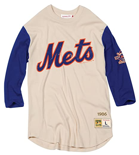 low priced fdaa9 15ef3 Mitchell & Ness New York Mets MLB Men's Wild Pitch 3/4 Sleeve Premium Shirt