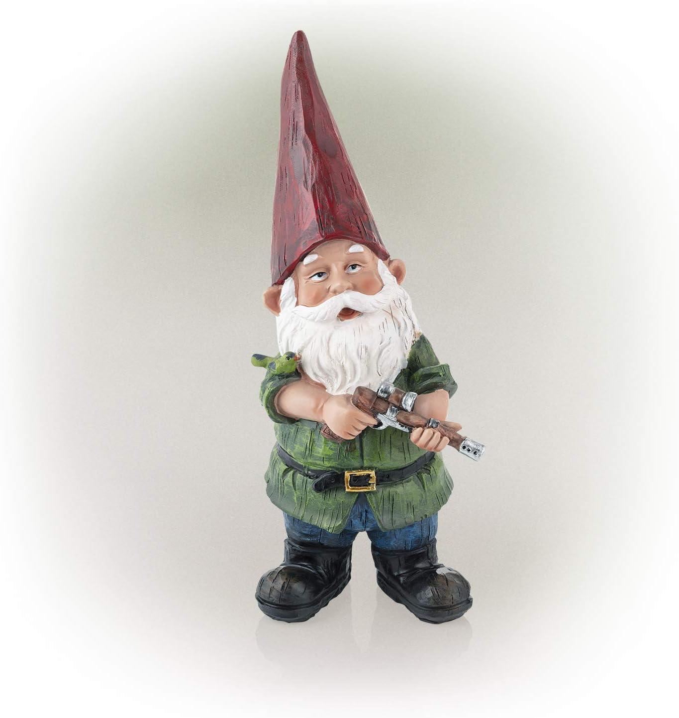 Alpine Corporation GDS124 Alpine Hunting Green Shirt Garden Gnome Outdoor Statue, Multicolor