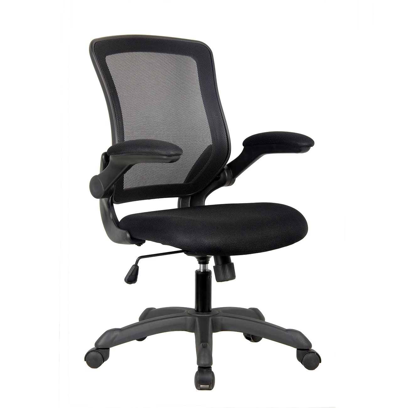 Techni Mobili Mesh Task Office Chair with Flip Up Arms. Color: Black