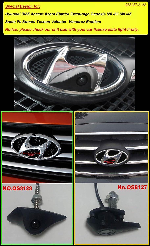 Dynavsal Coche Vista Frontal Logo Embeded de la C/ámara de Hyundai IX35 Accent Azera Elantra Entourage Genesis i20 i30 i40 i45 Santa Fe Sonata Tucson Veloster Veracruz Emblem con CCD Impermeable IP67