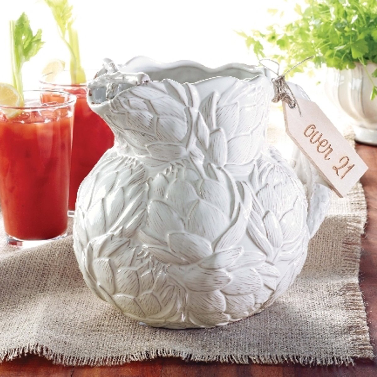 Christmas Tablescape Décor - Mud Pie white ceramic artichoke pitcher