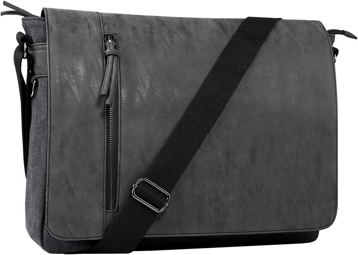 Laptop Messenger Bag for Men and Women,Tocode Vintage Canvas Messenger Bag Waterproof PU Leather Large Crossbody Shoulder Bag Computer Laptop Bag Fits Up to 16.5 Inch Laptop -Black
