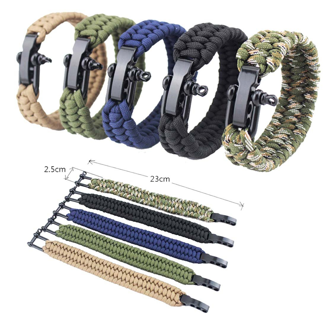 JMKZone Outdoor Paracord Survival Bracelet with Adjustable Stainless Steel Black Shackle for Hunting Camping Hiking(5 Pack:Black, Green, Blue, Brown, Camouflage)
