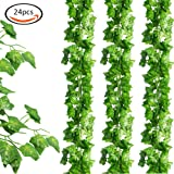 LoveS 24pcs (157 Feet) Artificial Greenery Fake Ivy Leaves Garland Hanging for Wedding Party Garden Wall Decoration