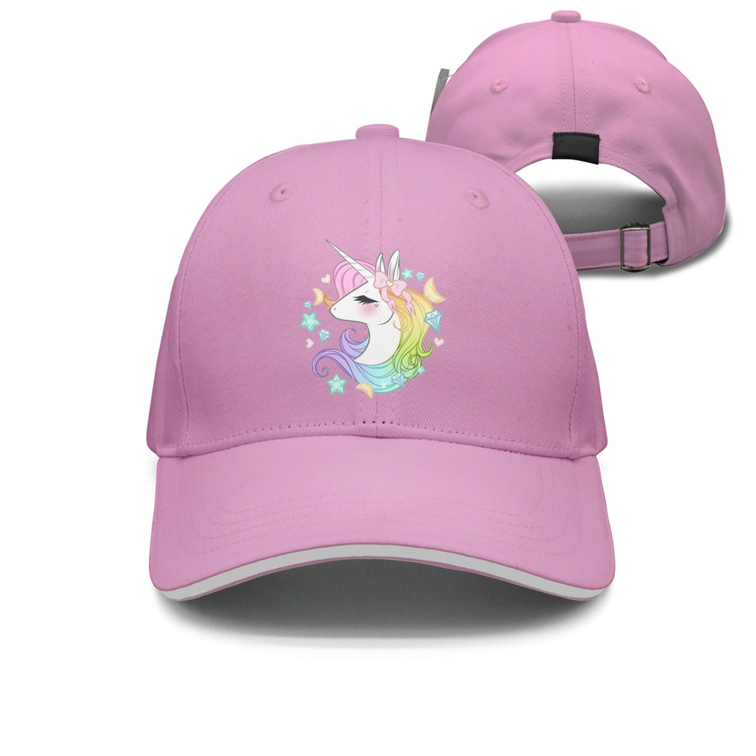 LoKIDve Cute Unicorns Boys Girls Mesh Cap Trucker Hats Adjustable Black
