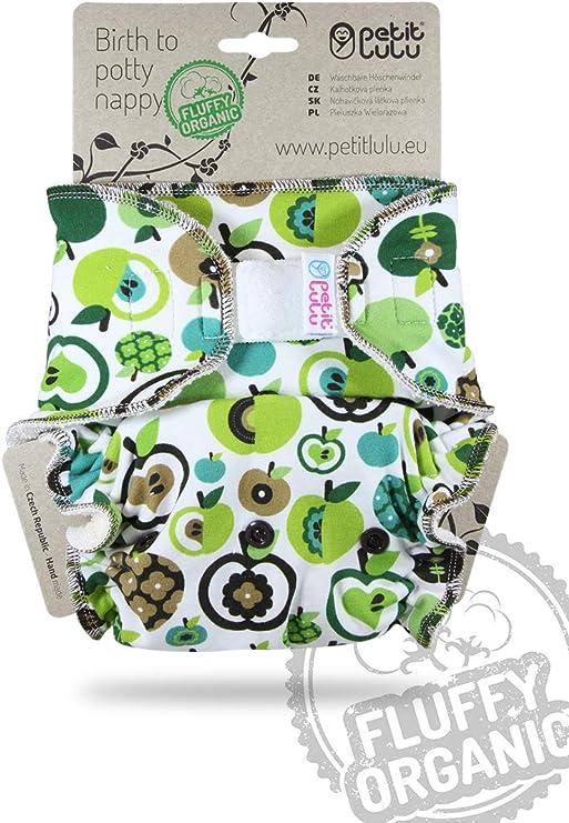 Fabricado en Europa Org/ánico Esponjoso Pa/ñales de Tela Reutilizable y Lavable Petit Lulu Ajustados Talla /Única Pa/ñal de Bamb/ú 4-15kg Apples Green