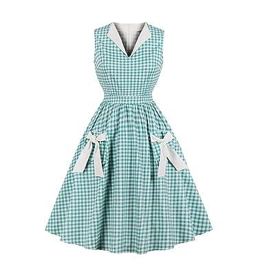 734285530d5 Wellwits Women s Lapel V Neck Plaid Pocket 1940s 1950s Vintage Swing Dress S