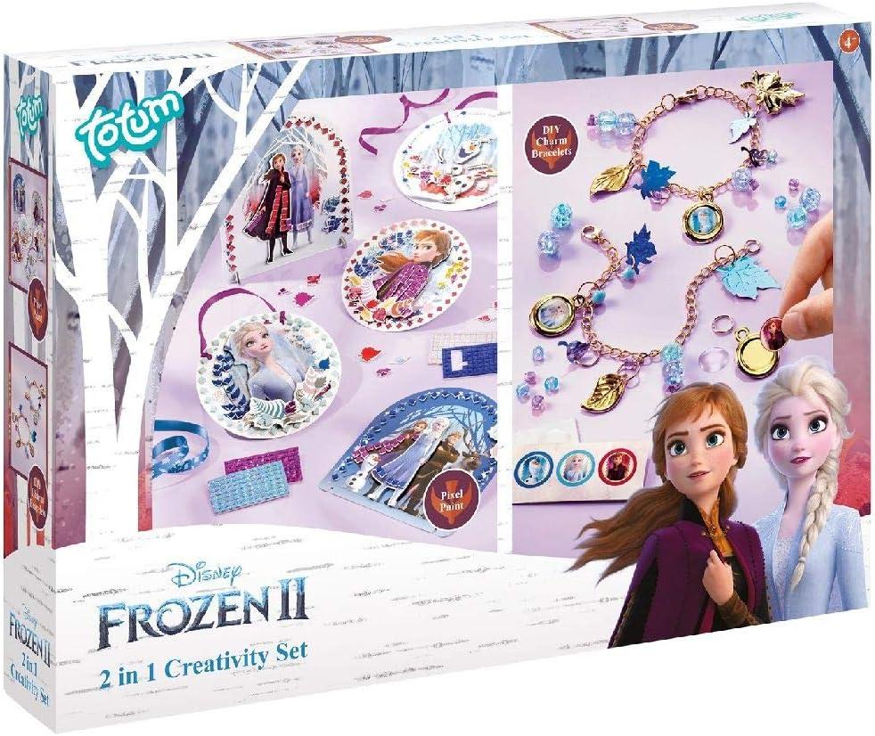 Totum-681194 - Kit Creativo de Frozen 2 en 1 con Caja de 2 Juegos de Brillantes y Juego de creación de Joyas