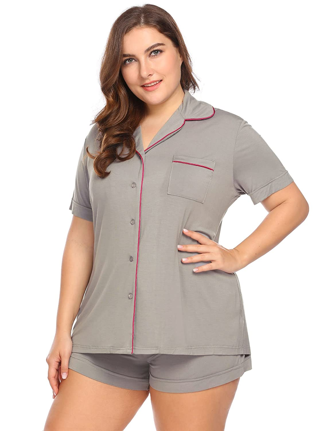 IN VOLAND Women s Plus Size Sleepwear Short Sleeve Pajama Set with PJ  Shorts 16W-24W at Amazon Women s Clothing store  795ee6aa3