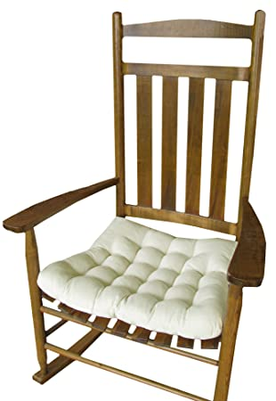 Perfect Rocking Chair Seat Cushion W/ Ties   Natural Unbleached Cotton Duck (Solid  Color)
