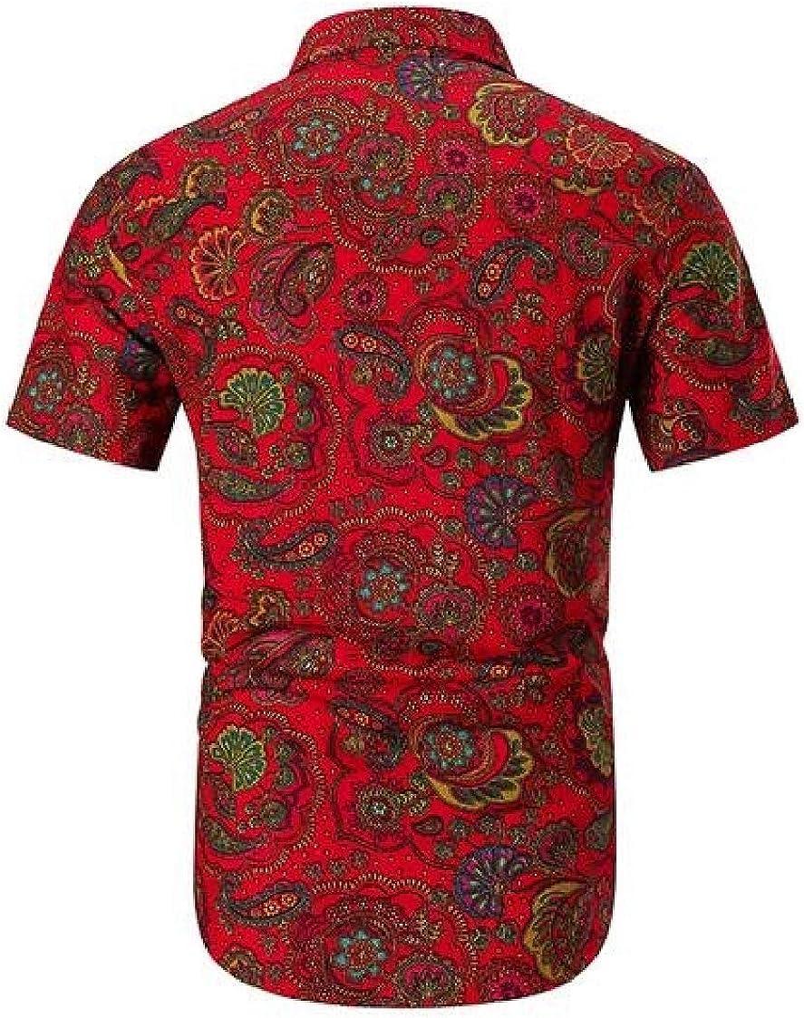 Nanquan Men Stylish Print Short Sleeve Button Up Ethnic Regular-Fit Shirts