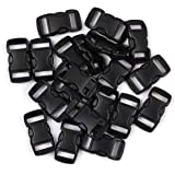 Penta Angel 3/8 Inch Black Plastic Curved Buckle DIY Craft Webbing Contoured Side Quick Release Buckle for Bracelets…