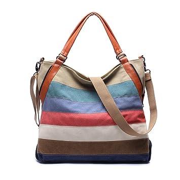 fb004b026e3ca KAUKKO Elegante Damen Handtasche Totes Leder Umhängetasche Schultasche 2  Way Use Freizeittasche (Stripes)