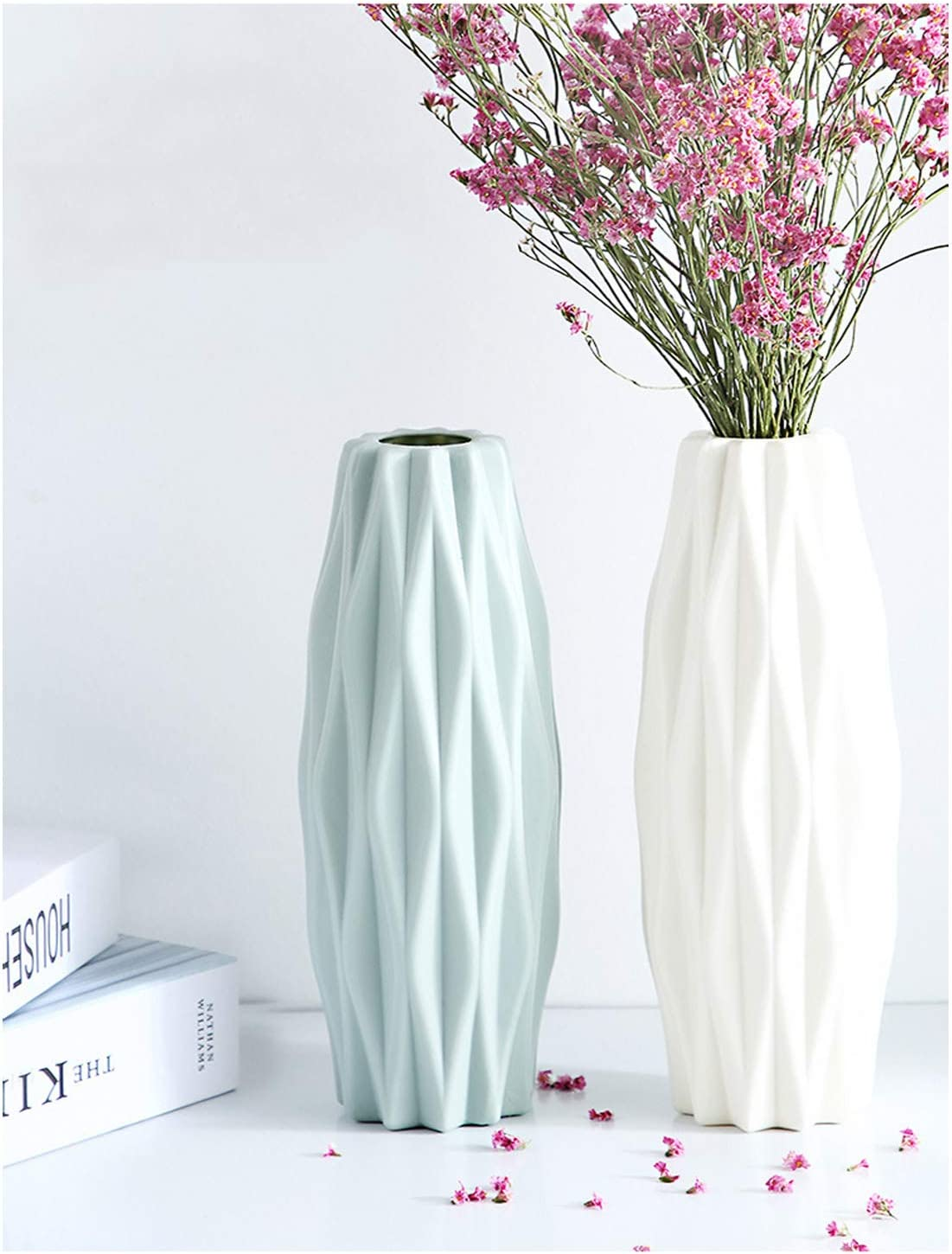 2PC Vases for Flowers, Geometric Flower Vases Decorative, for Living Room, Table, Home,Office,Artificial Flowers Decor,Green and White