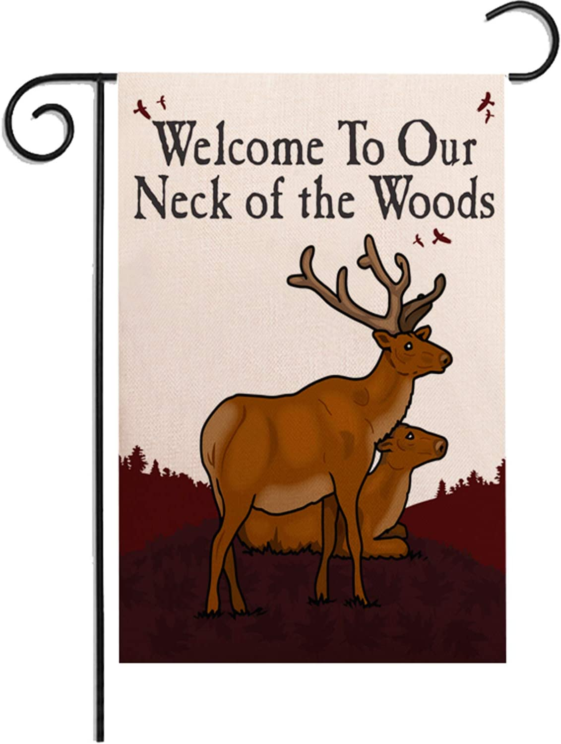 Munzong Welcome to Our Neck of The Woods Garden Flag 12.5 x 18 Inch, Double Sided Burlap Deer Rustic Lawn Flags, Camp Cabin Nature Outdoor Decorative Hobbies Hunting Decor Gift for Friend