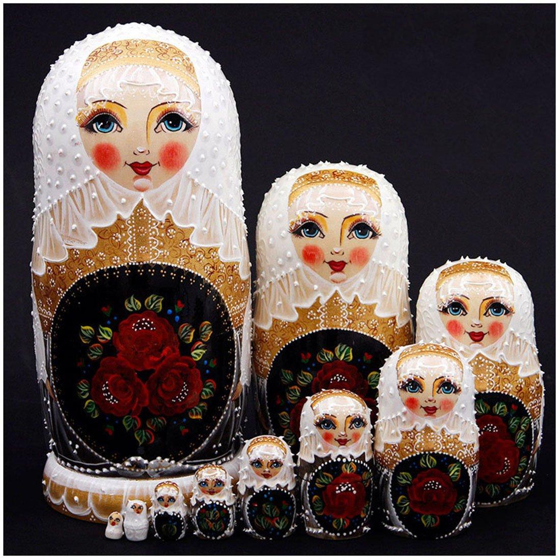 Debbieicy 10Pcs Beautiful Handmade Wooden Russian Nesting Dolls Wedding Dress Roses Princess Matryoshka Dolls Gift- Stacking Doll Set of 10 from 11.8'' Tall