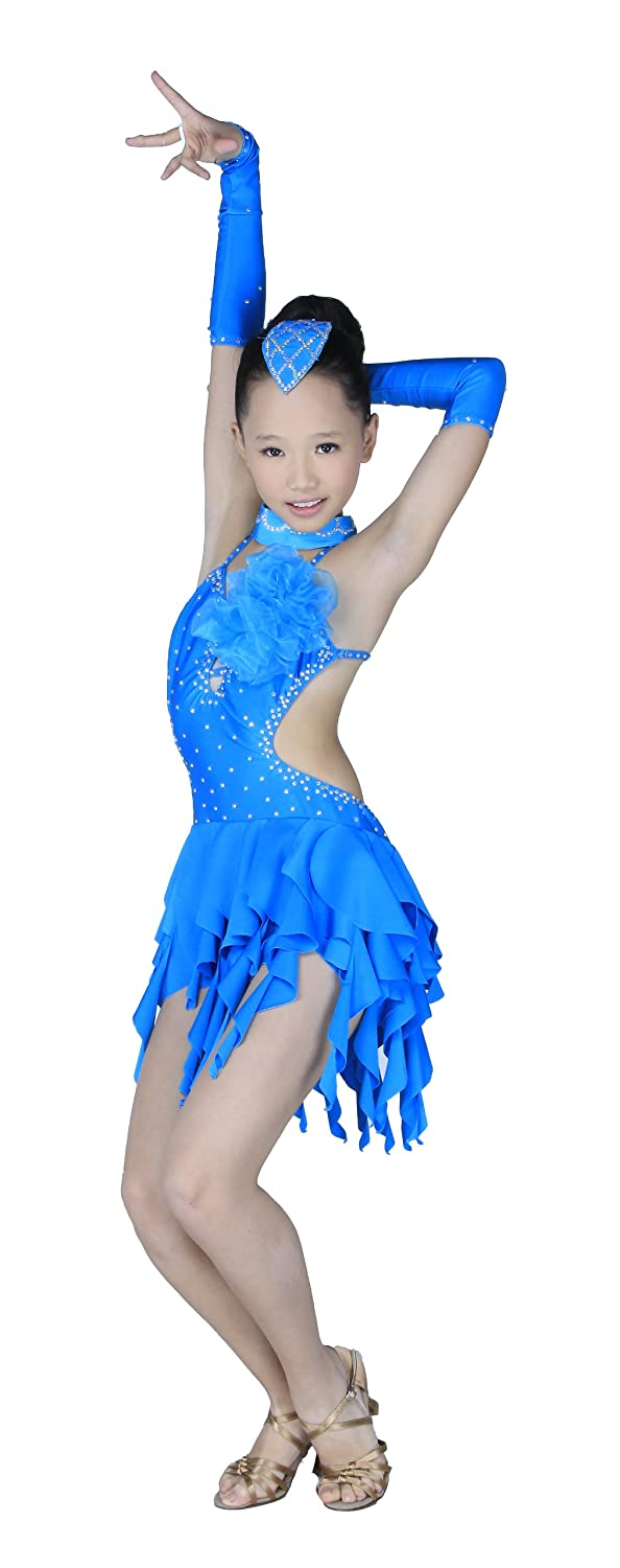 Colorfulworldstore Child Girls/Ladies Latin salsa cha cha tango Ballroom Dance Dress -Over all dress in 3sets-Blue