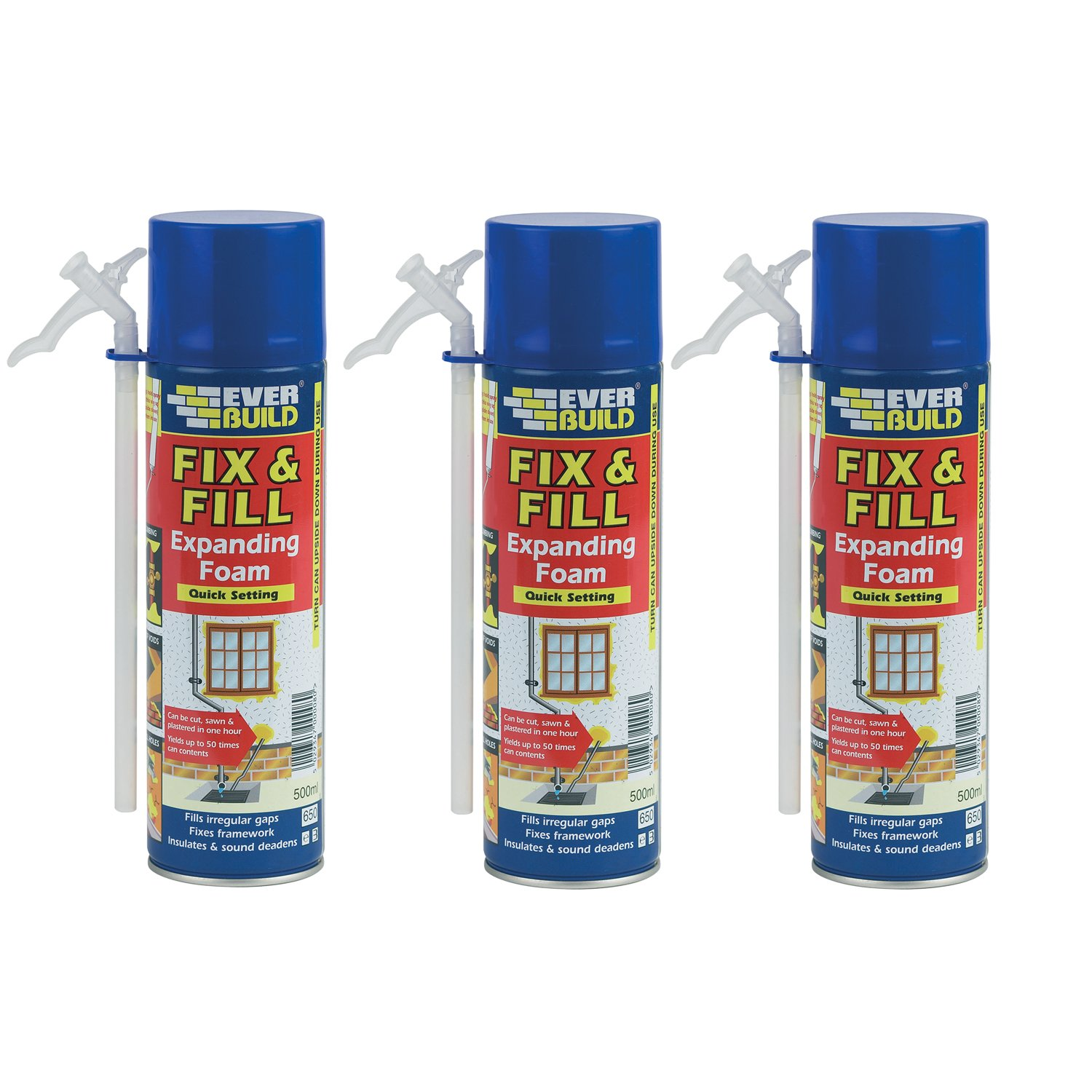 Everbuild 3Pc 500Ml Fill & Fix Quick Setting Polyurethane Expanding Foam White