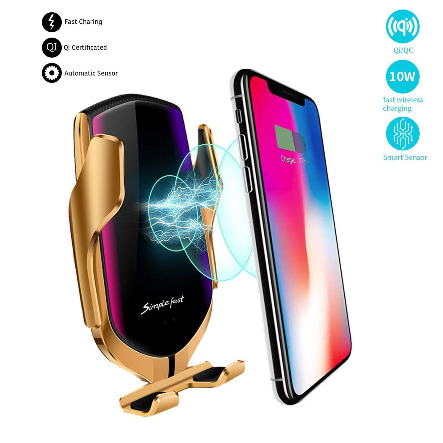 KMI CHOU R2 Wireless Car Charger,Automatic Clamping IR Intelligent Wireless Car Charger Mount - Car Charger Holder 10W Fast Charging for iPhone Xs Max/XR/X/8/8Plus Samsung S10/S9/S8/Note 8 by KMI CHOU