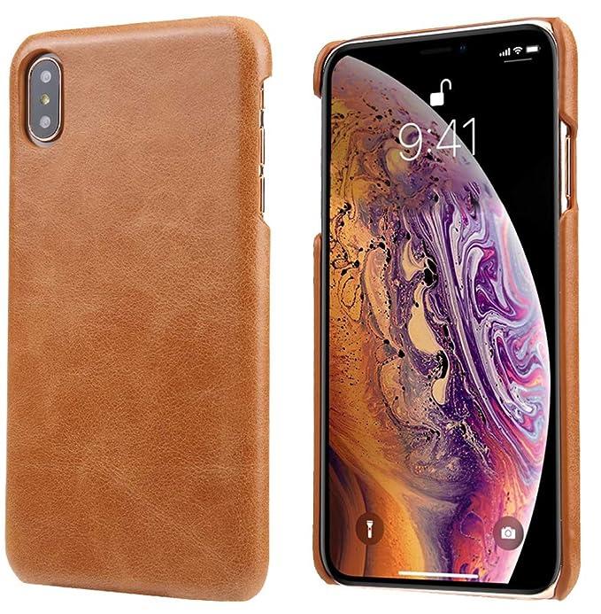 cheaper 534fd 63757 iPhone X/iPhone Xs Leather Case, Reginn Slim Fit Phone Cover [Wireless  Charging Compatible] Genuine Leather Case for iPhone X/iPhone Xs (Brown)