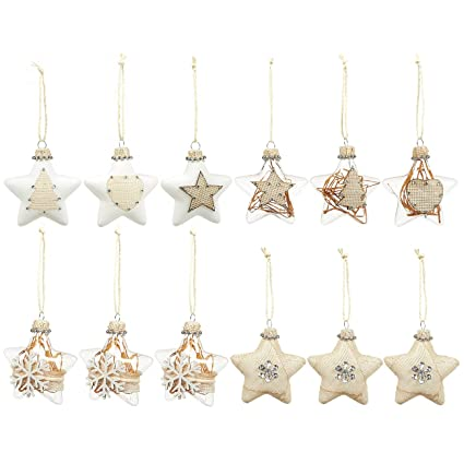 12 pack of christmas tree decorations hanging star decorations glass christmas ornaments - Glass Christmas Tree Decorations