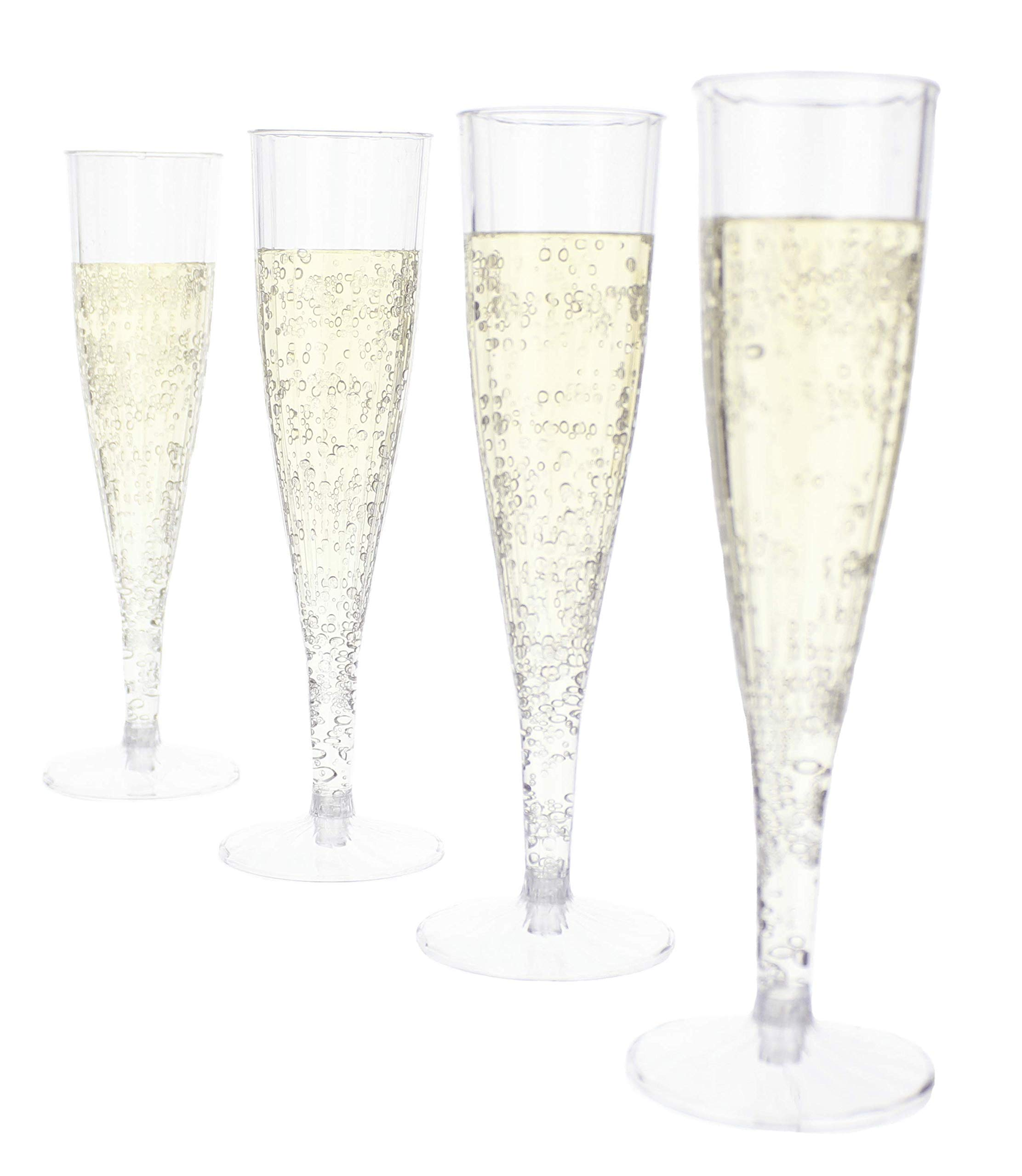 Disposable Champagne Flutes - Superior Quality Clear Plastic with Smooth Rim - 2 Piece Flute and Base - Reusable - Ideal for Weddings, Parties and Picnics - 24 Pack
