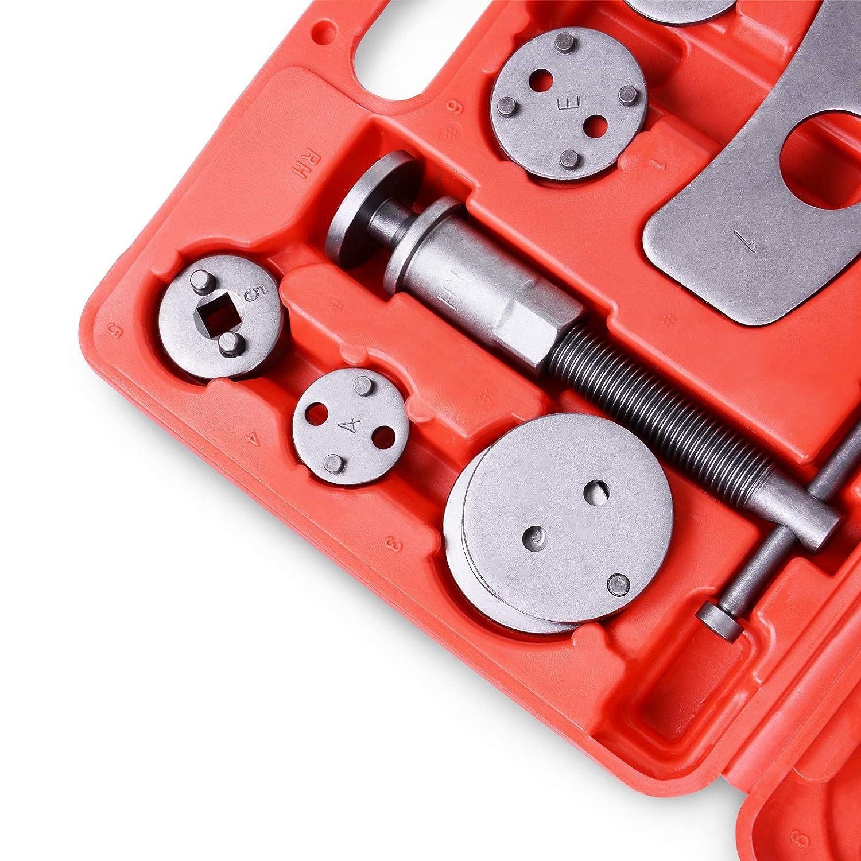 Remplacement de Disque Kit dOutils 22 Pi/èces M/âchoire ou Plaquettes de Frein Adaptateurs inclus Jago Coffret Set Repousse Piston d/Étrier de Frein