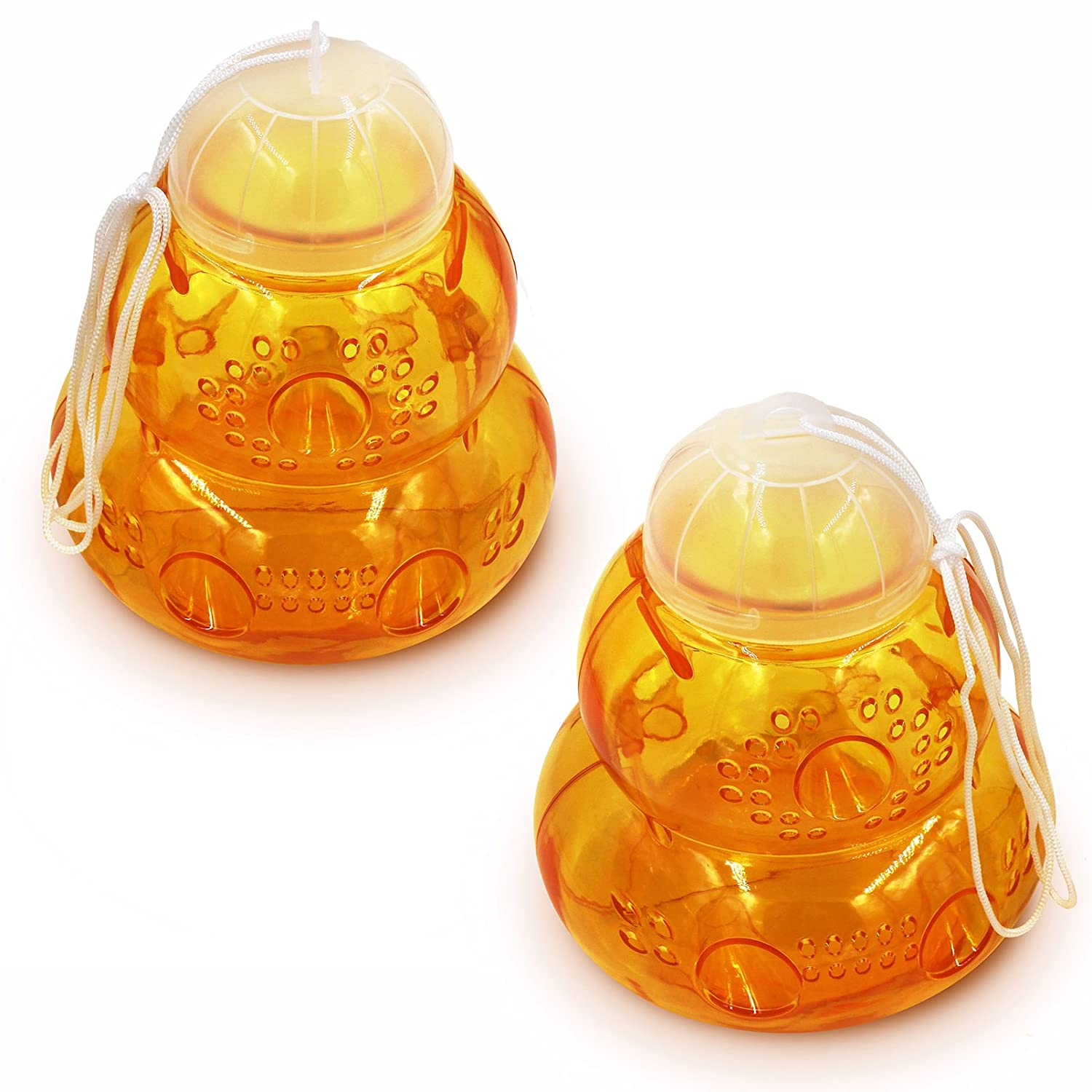 EN-GARD Wasp Traps (2 pack) - Attract & Kill Wasps, Yellow Jackets & Hornets - Hang Outdoors With Attractant Bait To Catch Stingers - Non-Toxic, Safe And Nature Friendly - Decorative Hive Design EG-HWT2