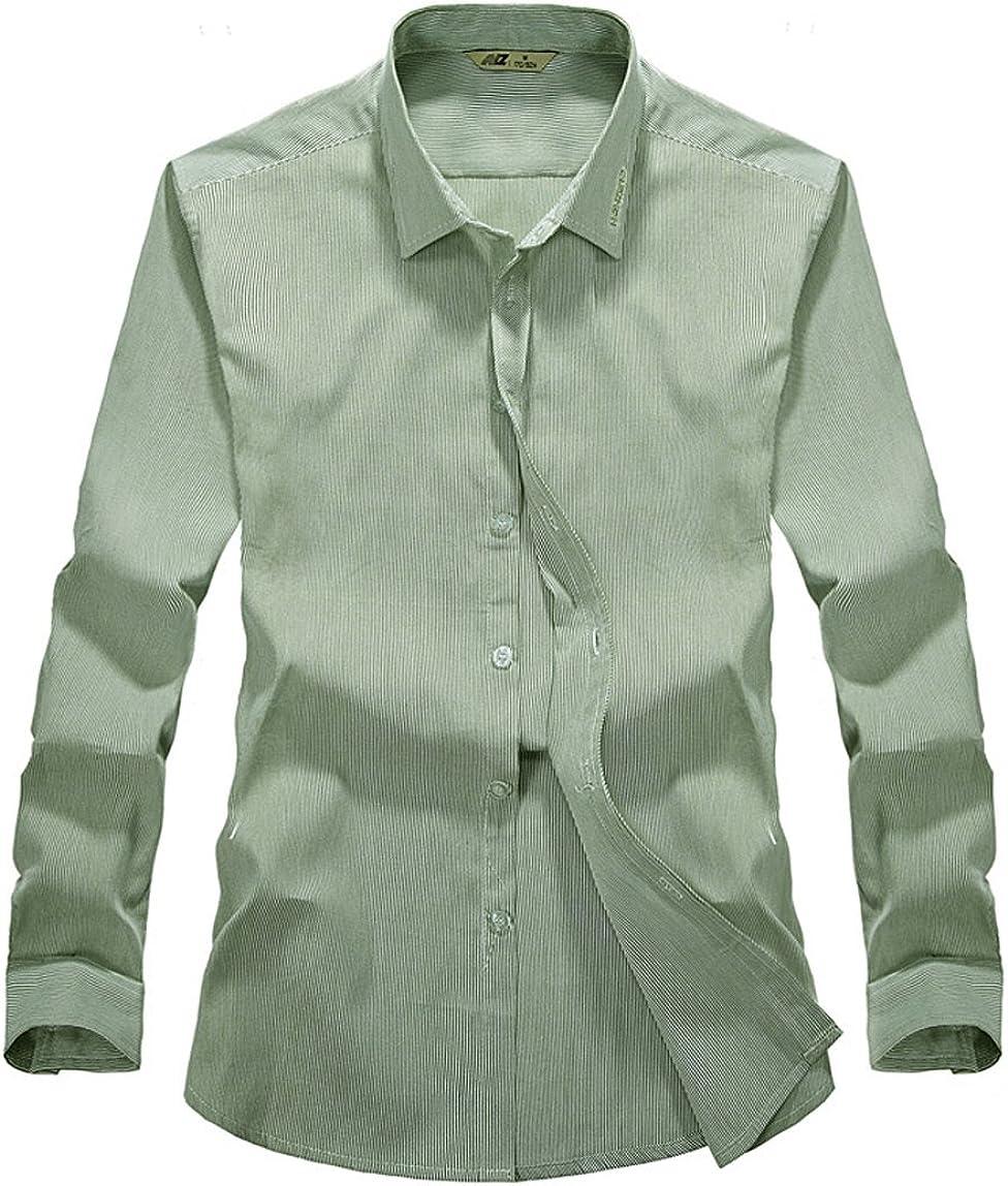 Tonwhar Mens Oxford Cotton Slim Fit Stripe Dress Shirts