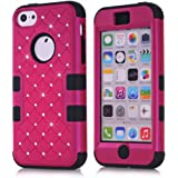 Phone case for iPhone 5C, Fashion Hybrid Gel Rhinestone Bling Armor Case Cover for iPhone 5C with Screen Protector and Stylus(Rose&Black)