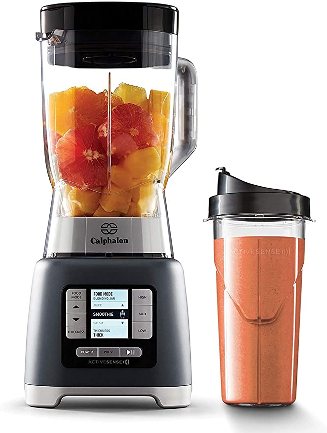 Amazon.com: Calphalon 2099742 ActiveSense 2 Liter Blender with Blend N Go Smoothie Cup, Gray: Kitchen & Dining