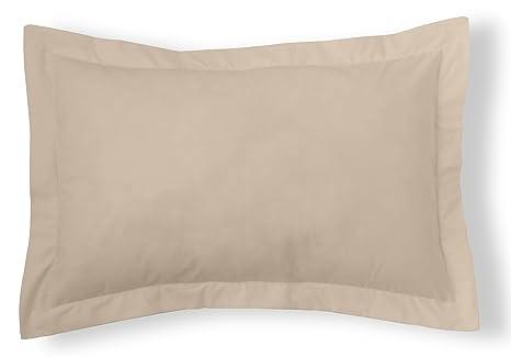 ES-TELA - Funda de cojín COMBI LISO 200 HILOS algodón peinado, color Piedra - Medidas 50x75+5 cm. - 100% Algodón - 200 Hilos - Acabado en pestaña