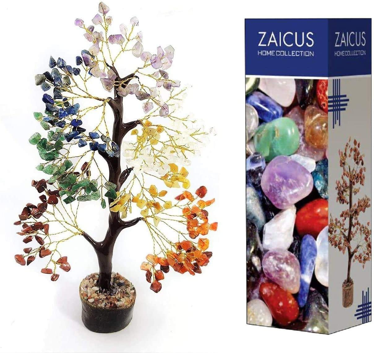 ZAICUS Seven Chakra Gemstone Feng Shui Bonsai Money Tree for Crystal Healing Energy Generator Spiritual Chakra Home Office Interior Decor Ideal Gift 10-12 Inch