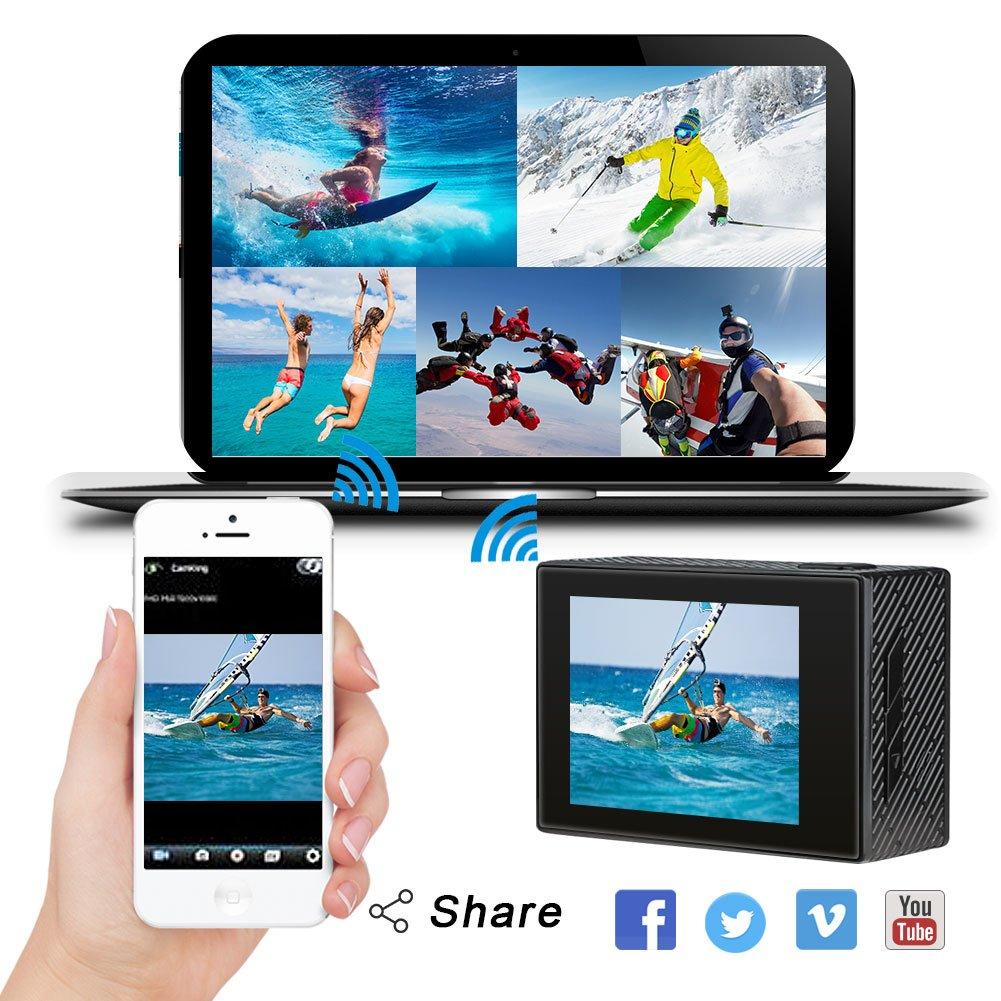 AKASO Brave 4 4K 20MP WIFI Action Cam Sony Sensor Ultra HD mit Bildstabilisierung 30m Unterwasserkamera Remote Action Kamera mit 2 Akkus und Helm Zubehör Kit
