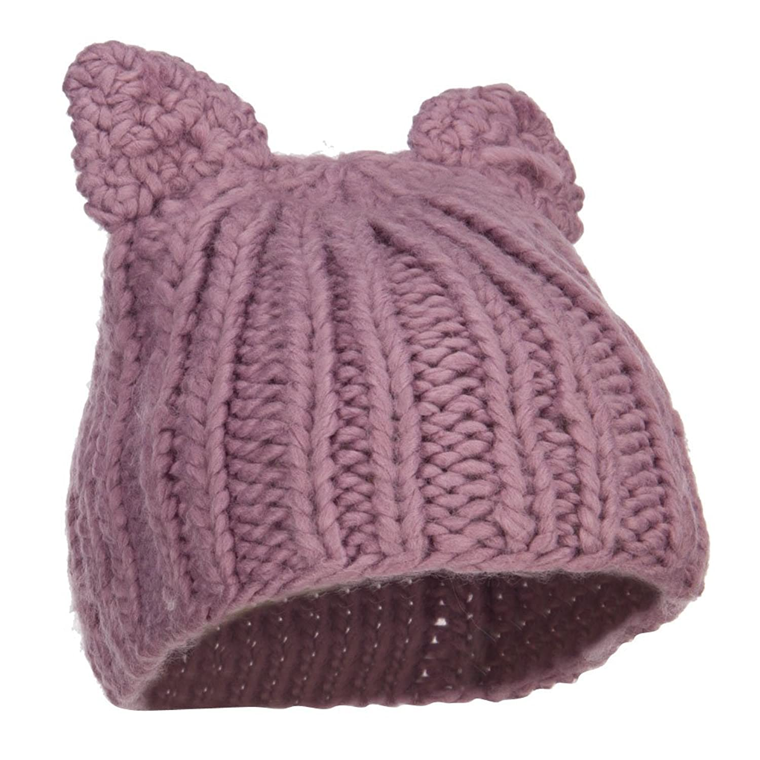 Girl's Kitten Ear Ribbed Beanie