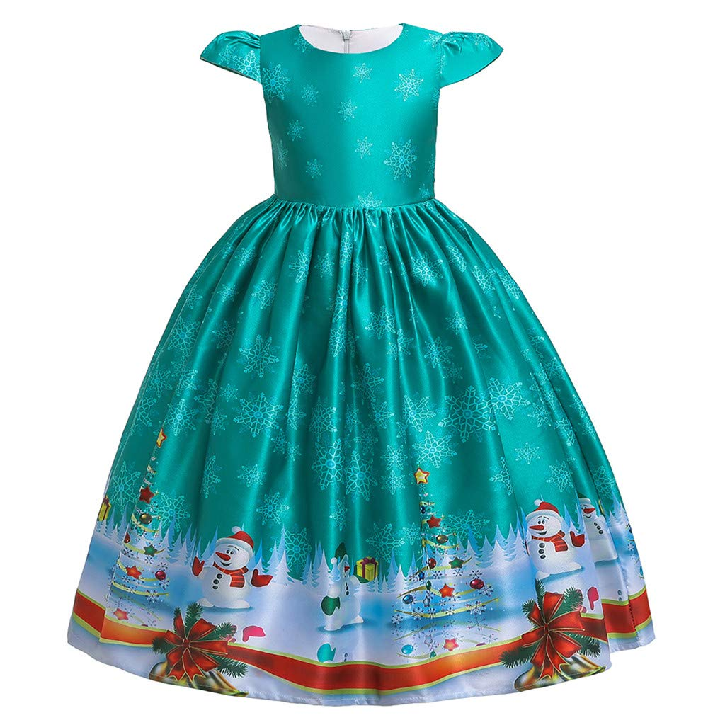 FDSD Baby Clothes Teen Child Girl Christmas Princess Dress Kids Girls Santa Print Short Sleeve Pageant Casual Party Wedding Gown (Age:12-13 Years, Green) by FDSD Baby Clothes