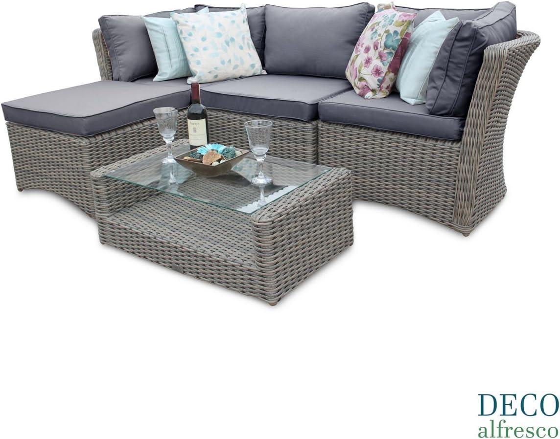 Outdoor Patio Couch Set, Deco Alfresco 5pc High Back Modular Corner Sofa Rattan Patio Set Natural Tri Weave Amazon Co Uk Kitchen Home