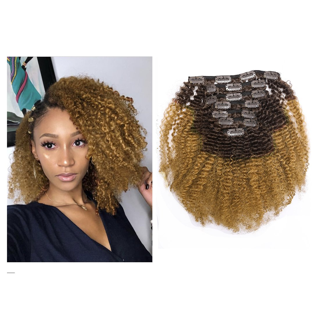Lacerhair 4A 4B Big Afro Kinky Curly Ombre Hair Extensions Clip in Double Weft Remy Human Hair for Black Women Two Tone Clip in Curly Hair,Dark Brown Fading into Blonde Strawberry #4/27, 16 Inch by Lacer