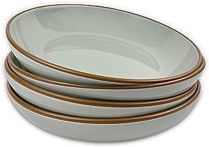 Mora Ceramic Large Pasta Bowls 30oz, Set of 4 - Serving, Salad, Dinner, etc Plate/Wide Bowl - Microwave, Oven, Dishwasher Safe Kitchen Dinnerware - Modern Porcelain Stoneware Dishes, Earl Grey
