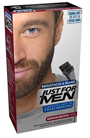 Just For Men Moustache and Beard Facial Hair Colouring Kit, Medium Brown M35