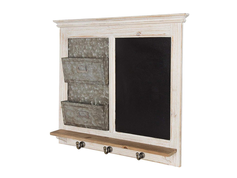 Kаtе аnd Lаurеl ホームデコ Idamae 木製フレーム黒板 メールホルダーとキーフック付き ウォールオーガナイザー ホワイト   B07MTPHW3R