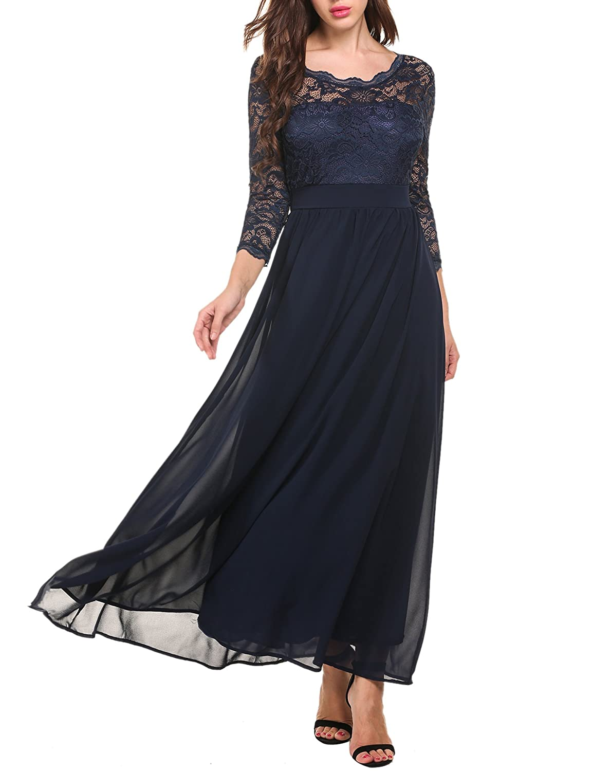 1940s Evening, Prom, Party, Cocktail Dresses & Ball Gowns Floral Lace 2/3 Sleeves Long Formal Evening Dress Maxi Dress $34.99 AT vintagedancer.com