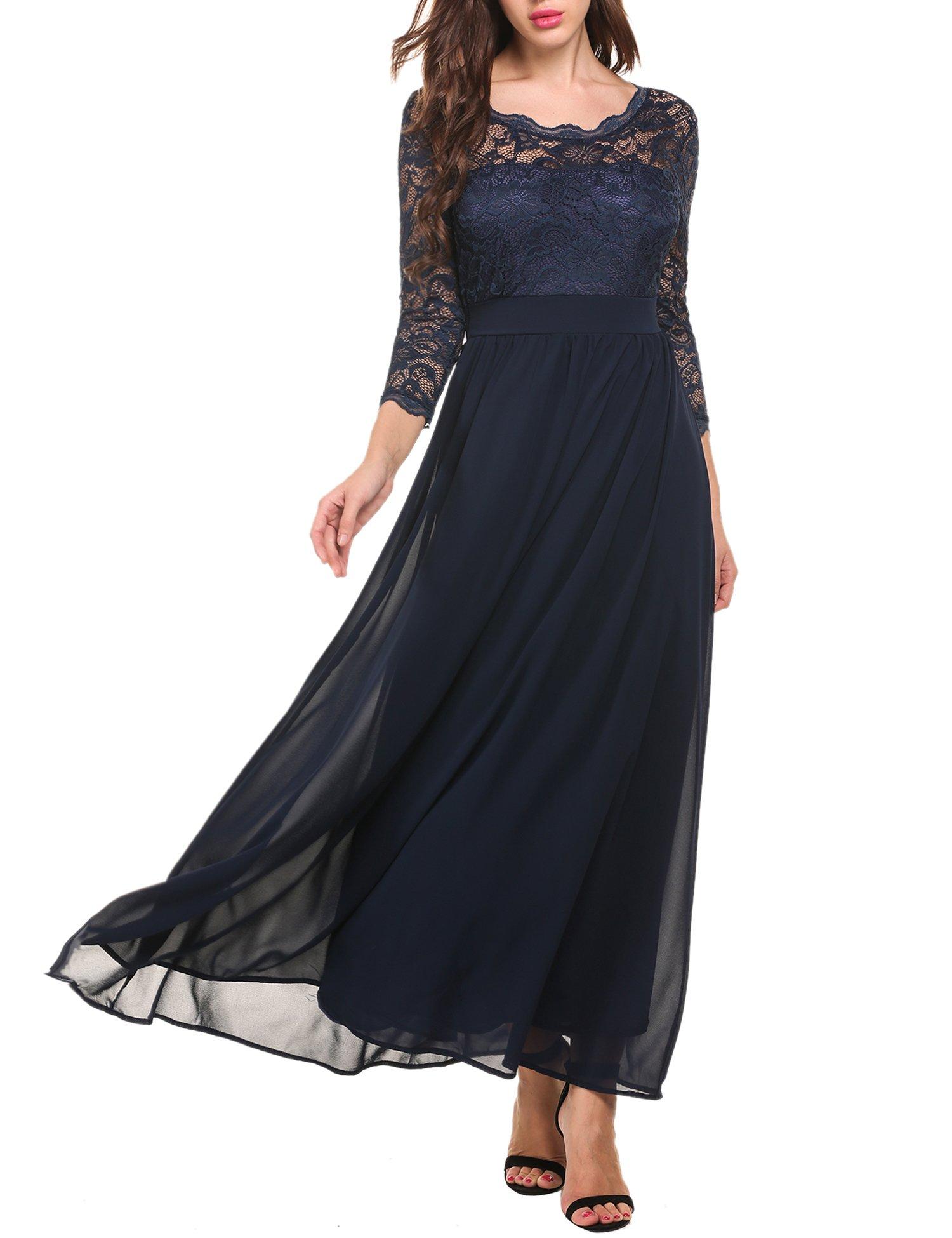 ACEVOG Women's Elegant Floral Lace Long Sleeve Evening Party Dress Blue L