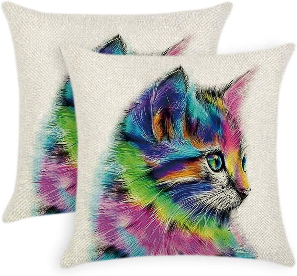 18/'/' Home Dog//Cat Cotton Linen Pillow Case Sofa Waist Throw Cushion Cover Decor