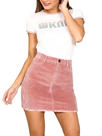 save off 7f34a 9a8bb Simplee Apparel Damen Kurz Röcke High Waist Bleistift Knielang Rock  Corduroy Skirt mit Fransen