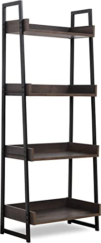 Sekey Home Ladder Shelf, 4-Tier Bookshelf Book Case, Storage Rack Shelf Unit, Bathroom, Living Room, Wood Look Accent Furniture Metal Frame Smoky Oak
