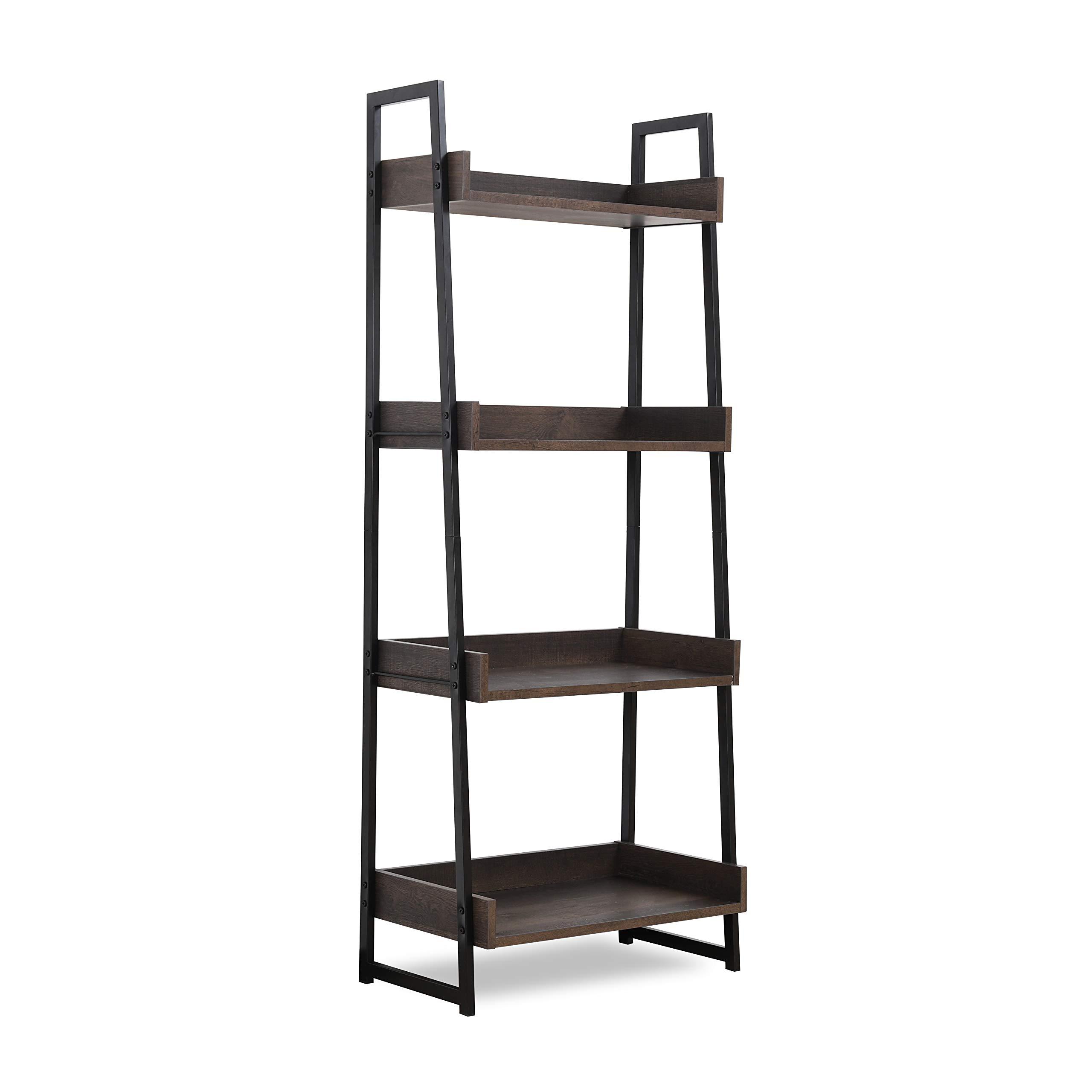Sekey Home Ladder Shelf, 4-Tier Bookshelf   Book Case, Storage Rack Shelf Unit, Bathroom, Living Room, Wood Look Accent Furniture Metal Frame,Smoky Oak by Sekey