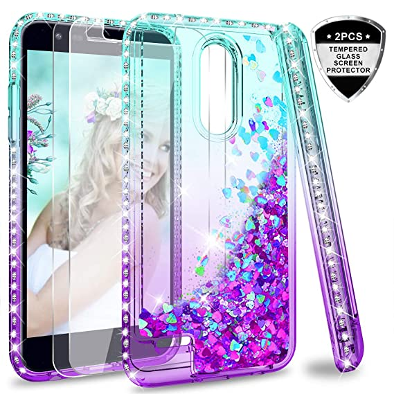 online retailer 7d785 55443 LG K30 (X410)/ Harmony 2 (Not Fit Harmony)/ Phoenix Plus Case w/Tempered  Glass Screen Protector [2 Pack] for Girls Women, LeYi Glitter Bling Liquid  ...